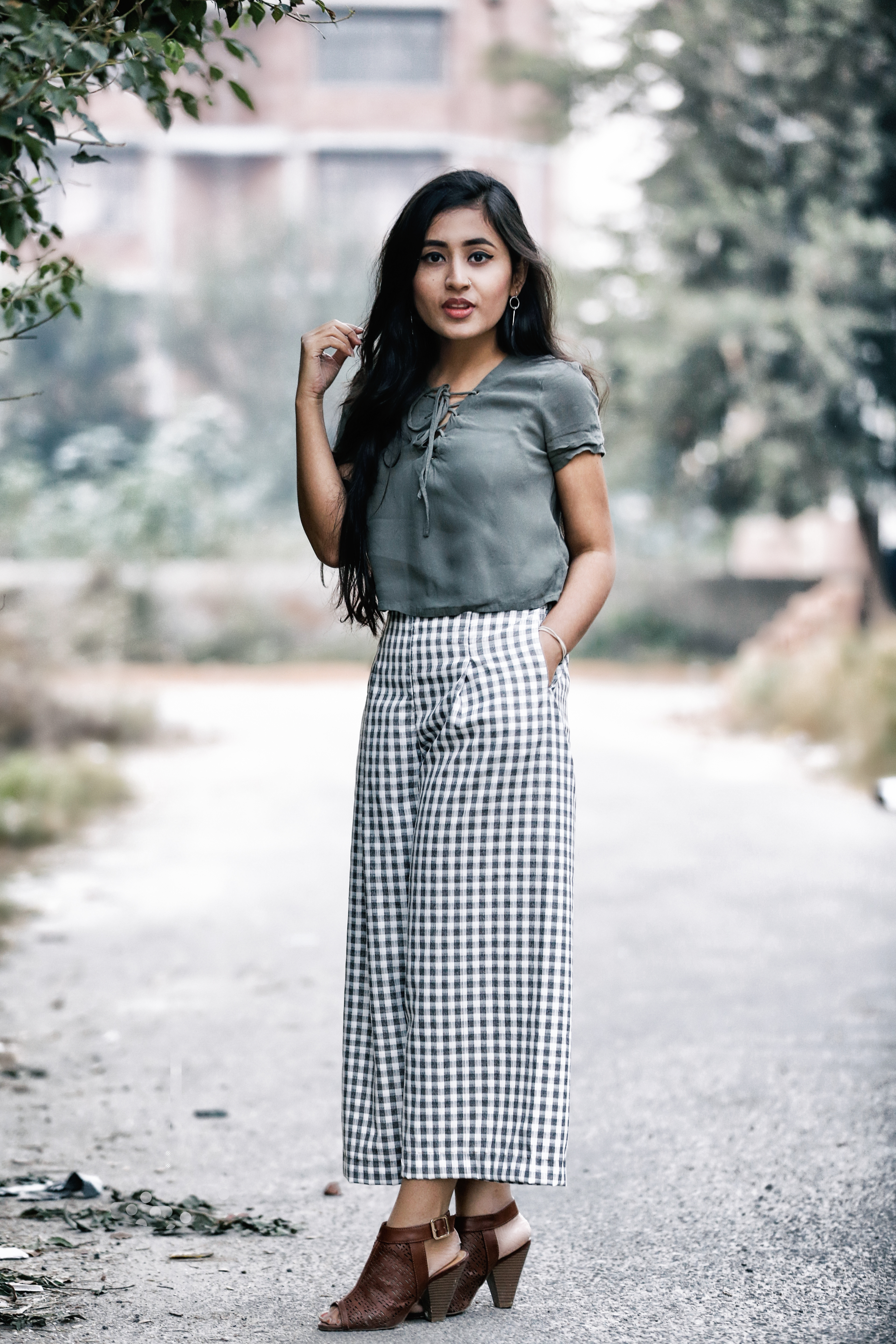 Lace up tops and culottes