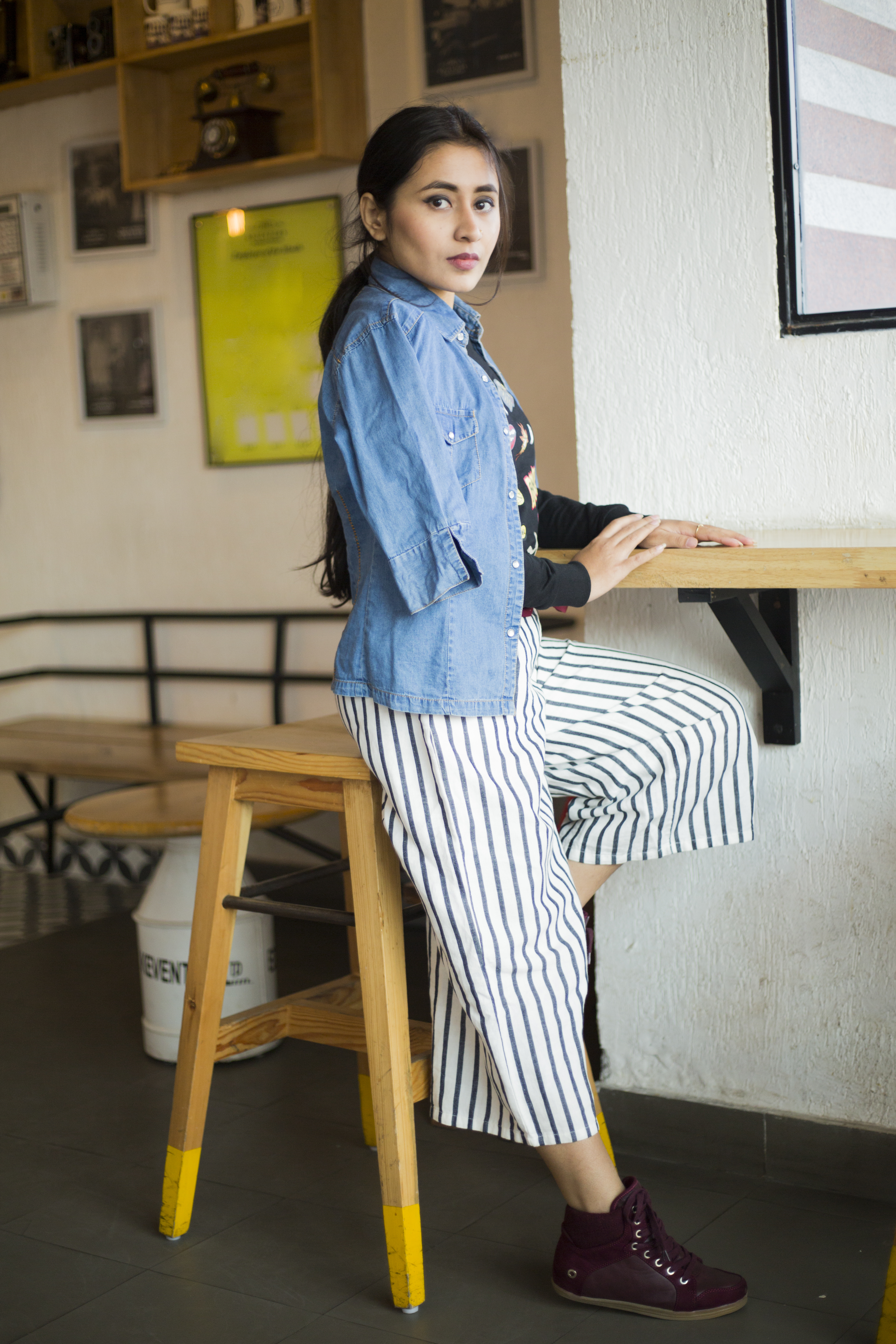 How to wear stripe culottes