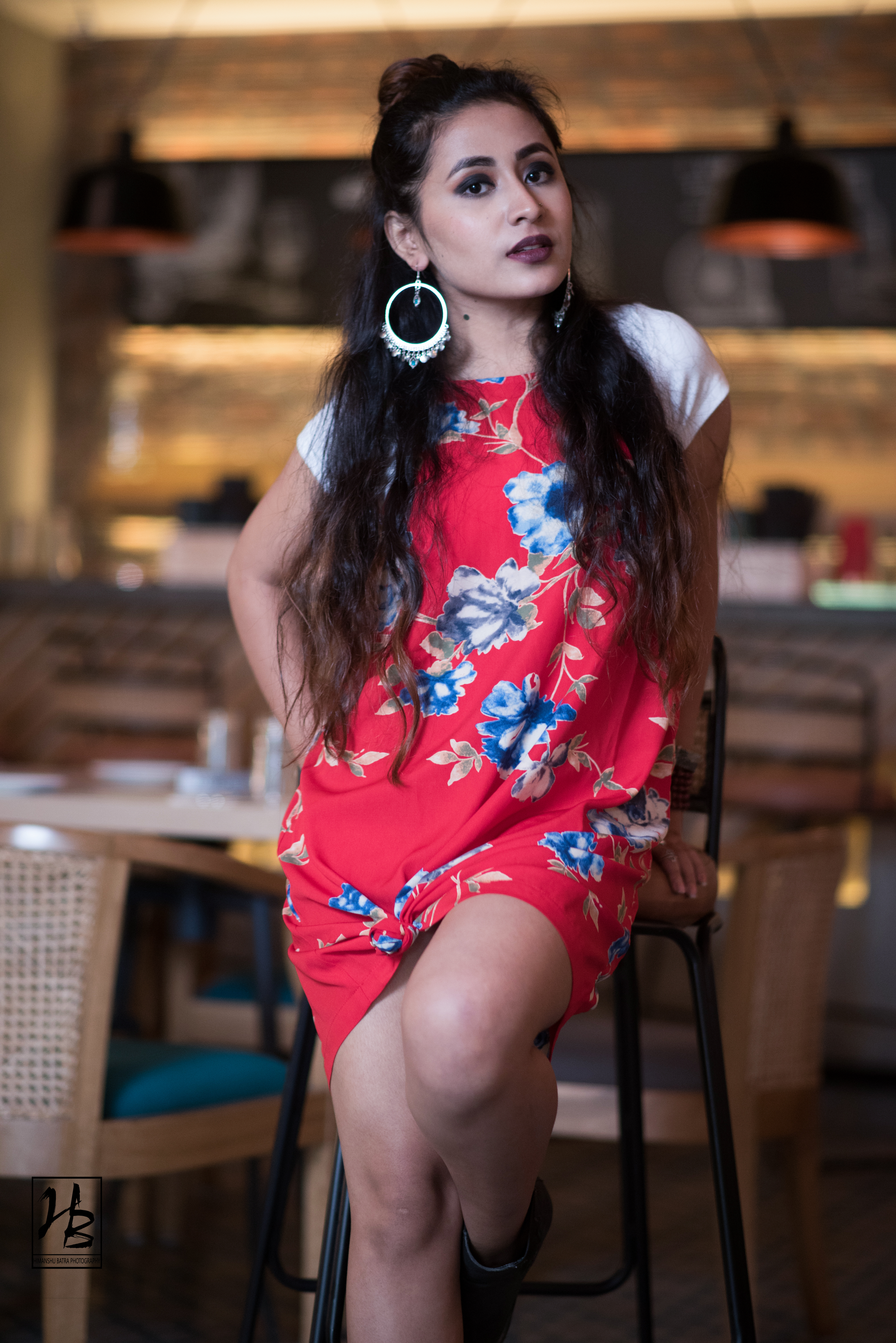 The fabric Fad in a floral dress