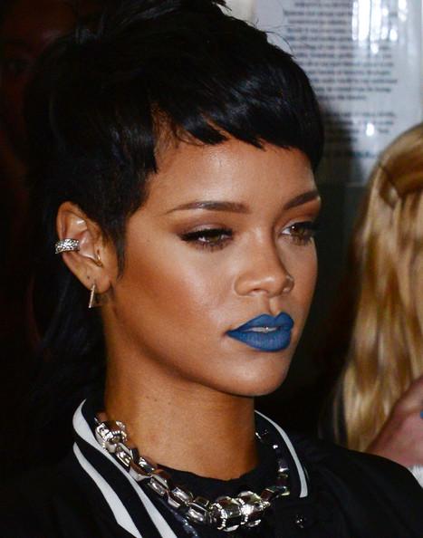 Rihanna in bold lip color